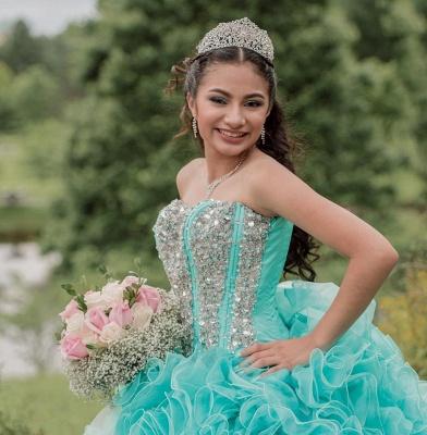 Vestido de fiesta Vestido de novia de quinceañera sin tirantes con volantes_5