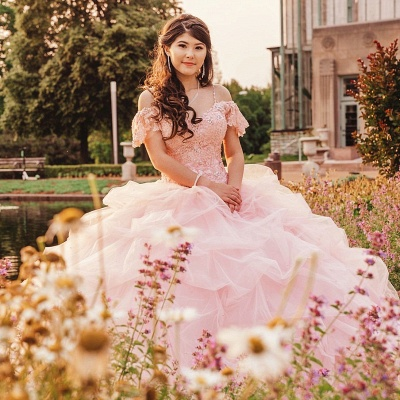 Elegant Lace Spaghettis Layers Pink Organza Quinceanera Dresses_2