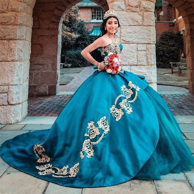 Chic Ball Gown Sweetheart Appliques Pearls Quinceanera Dress_1