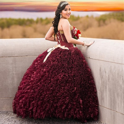 Exquisite Strapless Ruffle Gold Beadings Burgundy Quinceanera Dress_2
