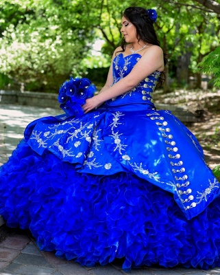 Unique Floral Appliqued Strapless Sweetheart Ruffles Tulle Royal Blue Quince Dresses_3