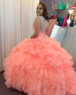 Elegante vestido rosa de bola con cuello en V espagueti de cristal rebordear vestidos de baile_4