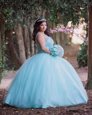 Ball Gown Jewel Sleeveless Beading Long Quinceanera Dress_7