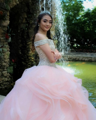Layered Tulle Crystal Beading Off-the-shoulder Pink Quinceanera Dresses_8