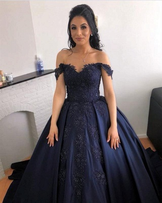 Ball Gown Navy Appliques Off the Shoulder Beading Quinceanera Dress_2