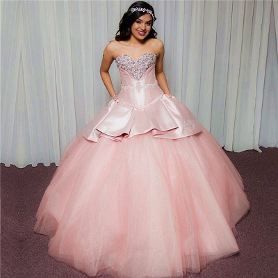 Chic Sweetheart Strapless Beading Tulle Pink Quinceanera Dresses_1