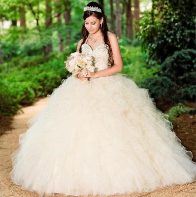 Ball Gown Straps Beading Sweetheart Ruffles Long Quinceanera Dress_3