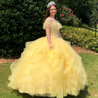 Crystal Beading Appliqued Off-the-shoulder Ruffles Tulle Quinceanera Dresses_1