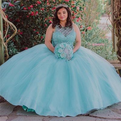 Ball Gown Jewel Sleeveless Beading Long Quinceanera Dress_3