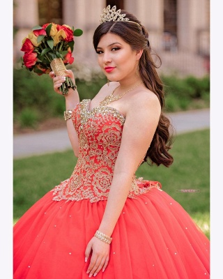 Sweetheart Sleeveless Beading Red Tulle Quinceanera Dress_3