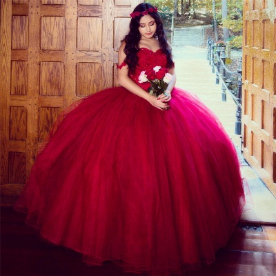 Off the Shoulder Appliques Pearls Burgundy Tulle Quinceanera Dress_1