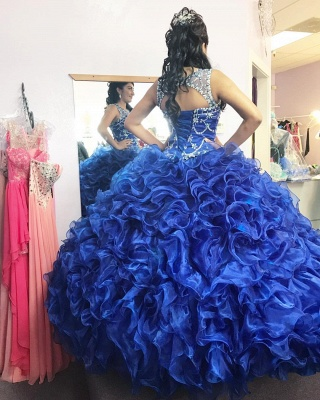 Gorgeous Beading Ruffled Taffeta Sleeveless Blue Quince Dresses_2