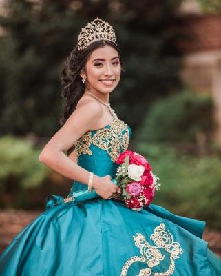 Elegante vestido de fiesta de novia apliques de perlas vestido de quinceañera_4