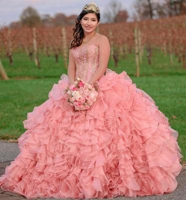 Maravilloso vestido de quinceañera largo con volantes y volantes de color rosa_2