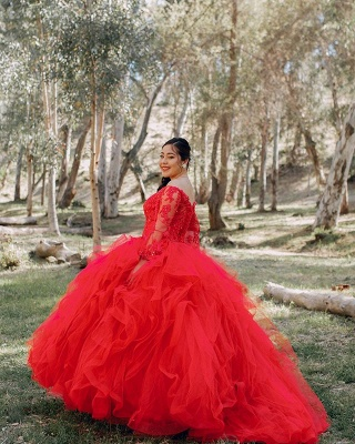 Red Tulle Lace Long Sleeves Off the Shoulder Beading Quinceanera Dress_4