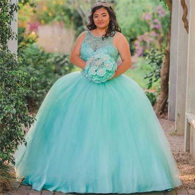 Ball Gown Jewel Sleeveless Beading Long Quinceanera Dress_1