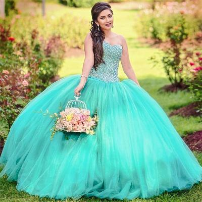 Vestido de fiesta de tul Vestido de quinceañera con lentejuelas sin mangas y abalorios sin mangas_1
