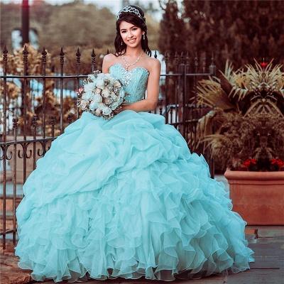 Vestido de quinceañera sin tirantes con volantes y adornos de volantes_1