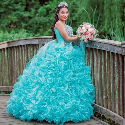 Vestido de fiesta Vestido de novia de quinceañera sin tirantes con volantes_3