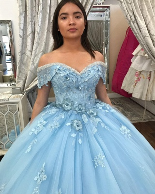 Off-the-shoulder Flower Appliques Tulle Ball Gown Quince Dresses_3