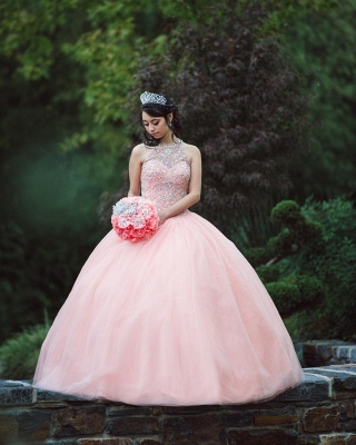 Exquisite Halter Tulle Beading Sleeveless Quinceanera Dress_6