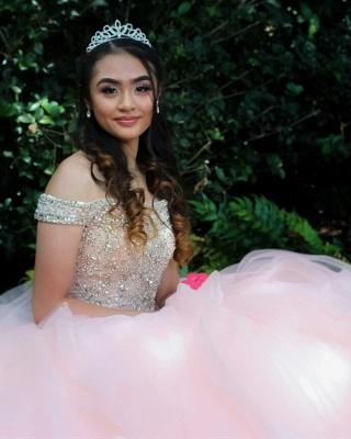 Vestidos de quinceañera rosa con abalorios de cristal de tul en capas_9