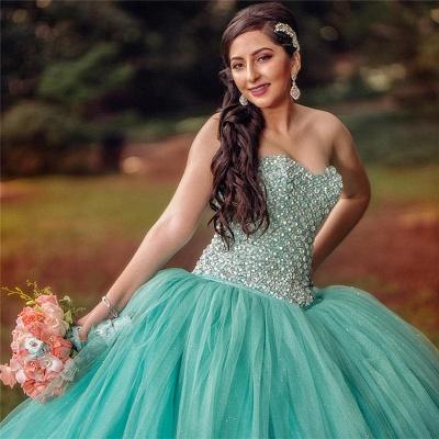 Vestido de fiesta de tul Vestido de quinceañera con lentejuelas sin mangas y abalorios sin mangas_2