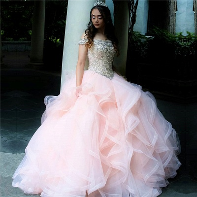 Layered Tulle Crystal Beading Off-the-shoulder Pink Quinceanera Dresses_1