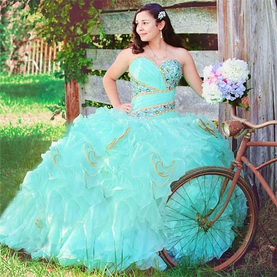 Stylish Sweetheart Beading Sleeveless Ruffles Quinceanera Dress_1
