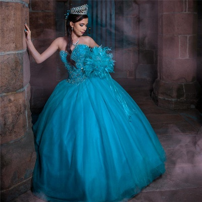 Tulle Sleeveless Sweetheart Beading Long Quinceanera Dress_1