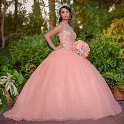 Exquisite Halter Tulle Beading Sleeveless Quinceanera Dress_1