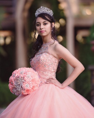 Exquisite Halter Tulle Beading Sleeveless Quinceanera Dress_4