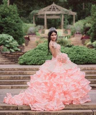 Elegante capa sin mangas con volantes perlas vestido de quinceañera rosa_5