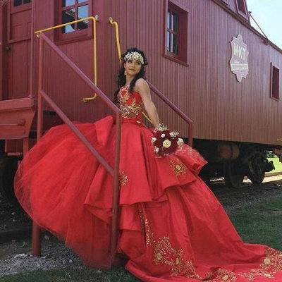 Appliques Strapless Red Sweep Train Ball Gown Quince Dresses_2