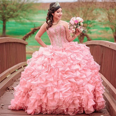 Maravilloso vestido de quinceañera largo con volantes y volantes de color rosa_1