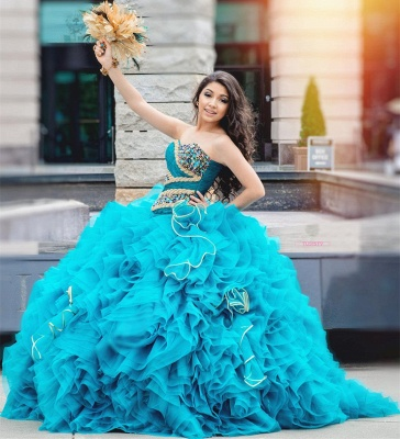 Chic Ball Gown Sweetheart Beading Ruffles Long Quinceanera Dress_3