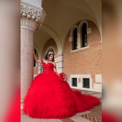 Off-the-shoulder Red Appliques Tulle Court Train Ruffles Quince Dresses_3