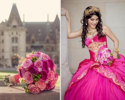 Ball Gown Sweetheart Sleeveless Gold Appliques Hot Pink Quinceanera Dress_2