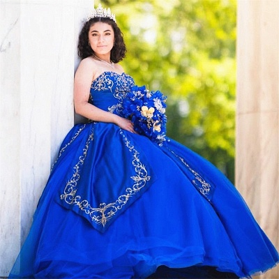 Strapless Blue Ball Gown Apliques Long Quinceanera Dresses