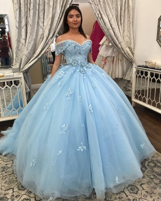 Off-the-shoulder Flower Appliques Tulle Ball Gown Quince Dresses_2