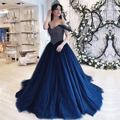 Elegant Off-the-shoulder Sweetheart Sequins Top Tulle Quinceanera Dresses_1