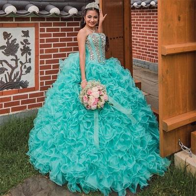 Vestido de fiesta Vestido de novia de quinceañera sin tirantes con volantes_2