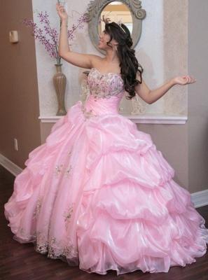Exquisite Sweetheart Ruffles Beadings Pink Quinceanera Dress_2