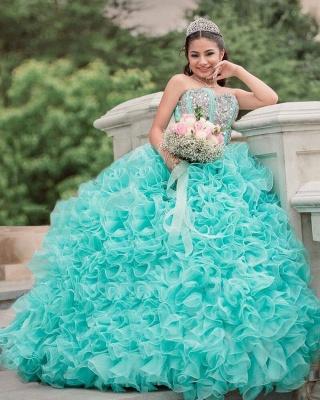 Vestido de fiesta Vestido de novia de quinceañera sin tirantes con volantes_4