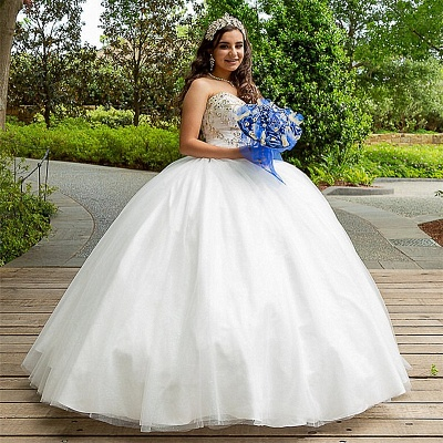 White Ball Gown Sweetheart Strapless Beading Appliques Quinceanera Dresses