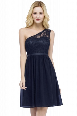 ROSA | Quinceanera Short One-shoulder Lace Top Chiffon Dama Dresses with Sash_3