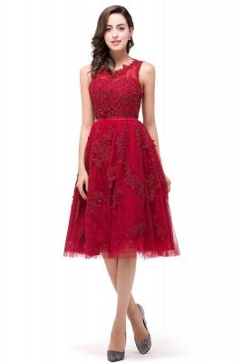 Perlas con apliques de encaje Vestidos de baile | rojo Tul Hasta la rodilla_1