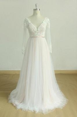 Elegant White /Ivory Long Sleeves Lace Aline Wedding Dress V-Neck Floor Length Bridal Dress