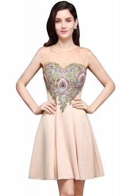 Elegante Vestido de fiesta corto | de una línea de gasa con apliques_1