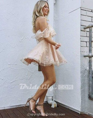 A-Line Lace Off-Shoulder Short Prom Dresses Pearl Pink Homecoming Dress_5